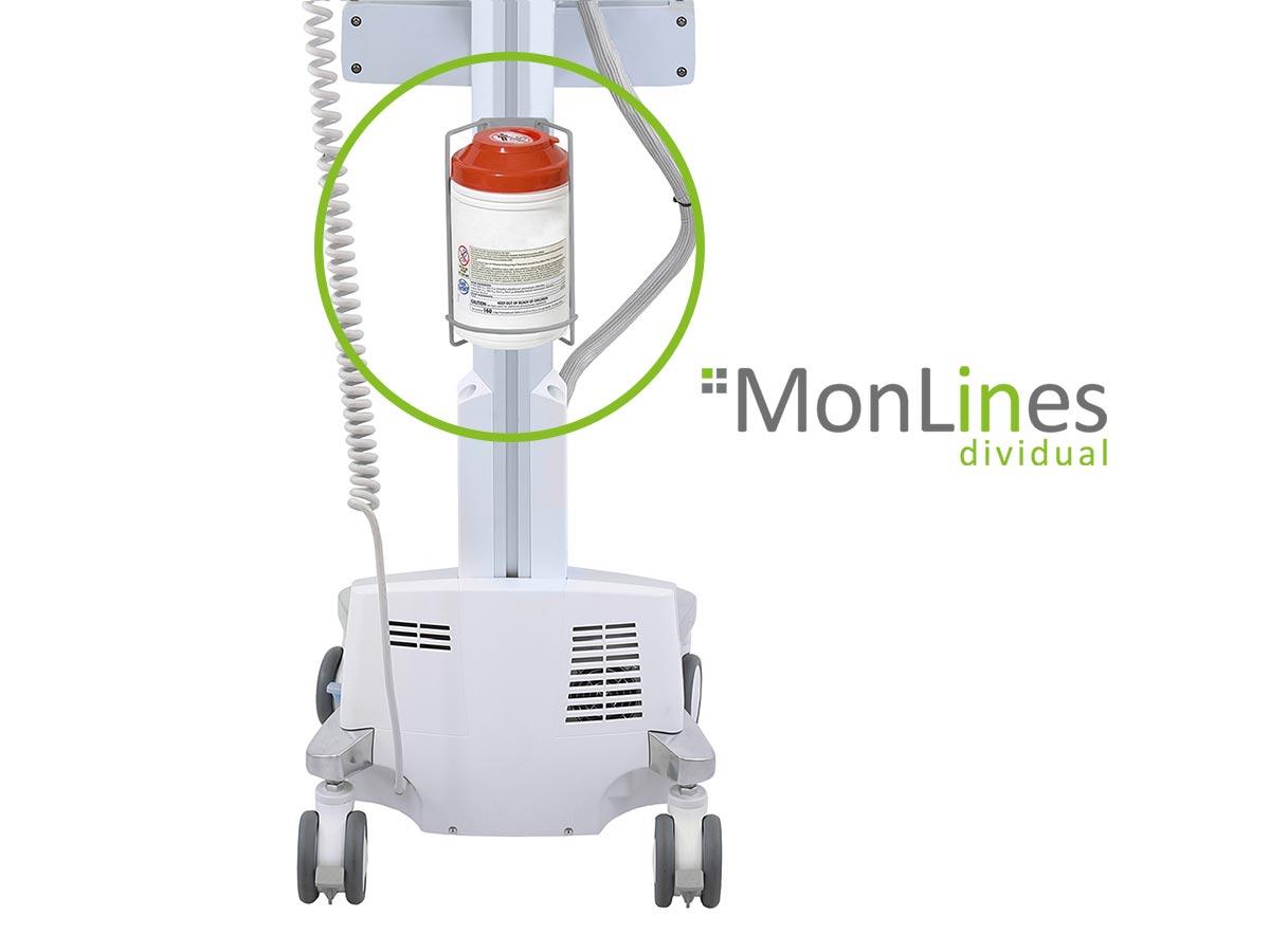 MonLines Desinfektionstücher Halterung für Ergotron Visitenwagen