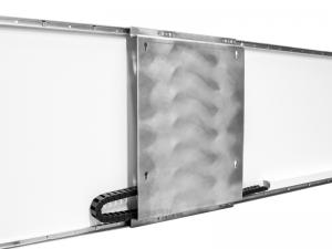 Sonderanfertigung – elektrische Wandführungsschiene für zwei Displays