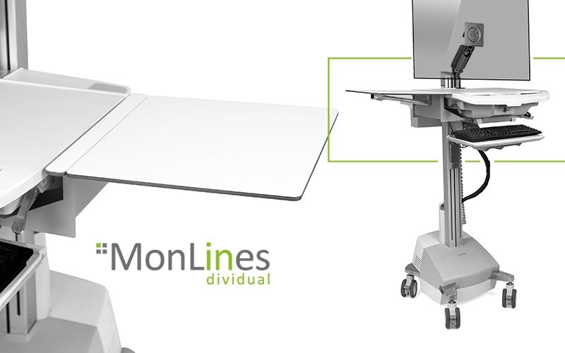 MonLines klappbare Arbeitsplatte für Ergotron Visitenwagen