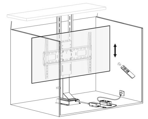 MonLines MLS005B / MLS006B myTVLift Einbau TV Lift elektrisch 3D Zeichnung