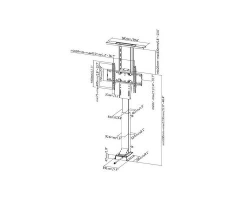 MonLines MLS005B / MLS006B myTVLift Einbau TV Lift elektrisch Technische Zeichnung