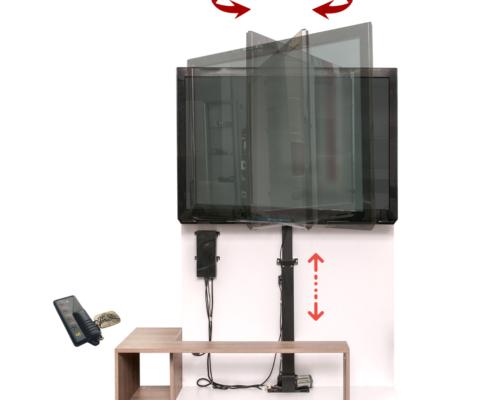 MonLines MLS007B myTVLift Einbau TV Lift 37-65 Zoll, 837 mm Hub, schwarz, schwenkbar