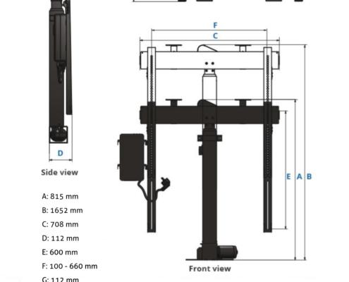 MonLines MLS007B myTVLift Einbau TV Lift 37-65 Zoll, 837 mm Hub, schwarz, technische Zeichnung