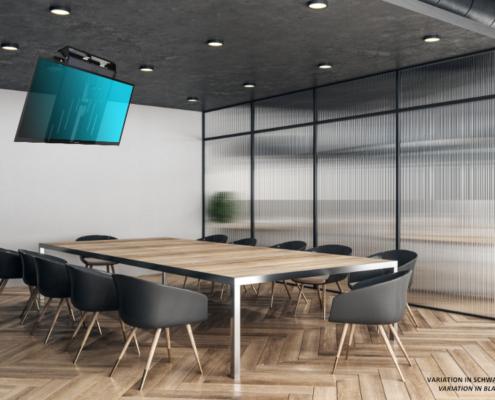 MonLines elektrischer Deckenlift, mMotion Flip schwarz Anwendungsbeispiel Konferenzraum