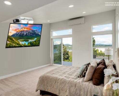 MonLines elektrischer Deckenlift, mMotion Flip weiß Anwendungsbeispiel Schlafzimmer