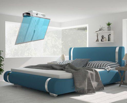 MonLines elektrischer Deckenlift, mMotion Flip Weiß Anwendungsbeispiel: Schlafzimmer