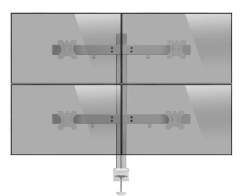 MonLines MTH012 2+2 Monitor Tischhalterung für 4 Monitore