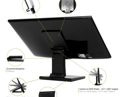 MonLines MTS700B Touchscreen Tisch Ständer, Features
