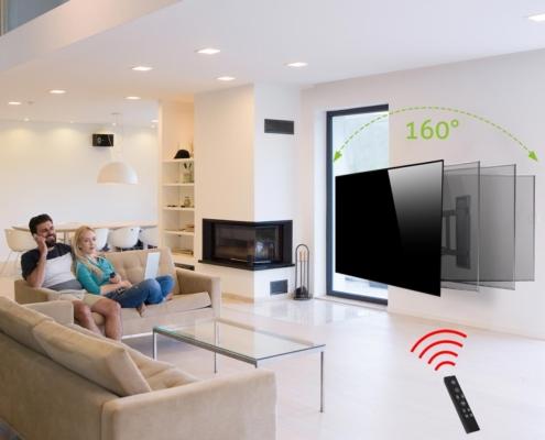 MonLines mySwing MSM05 elektrische TV Wandhalterung 50-70 Zoll, schwarz, Anwendungsbeispiel