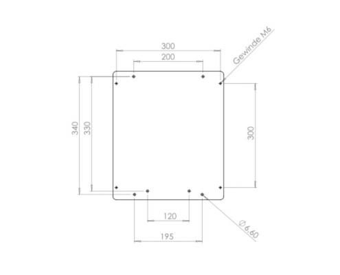 MonLines V012B VESA Adapter LG OLED EG EF Technische Zeichnung