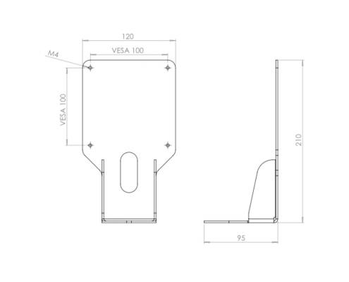 MonLines V031 VESA Adapter für Samsung Monitore Technische Zeichnung
