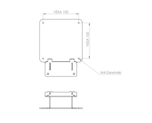 MonLines V052 VESA Adapter für Samsung 32UR59C / U32R594CWU Technische Zeichnung