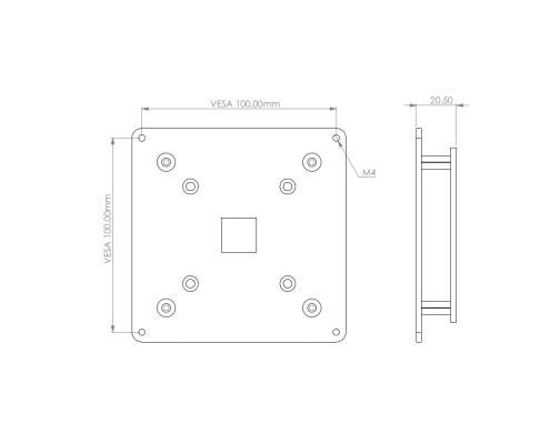 MonLines V060 VESA Adapter für Samsung C24FG73 / C27FG73 Technische Zeichnung
