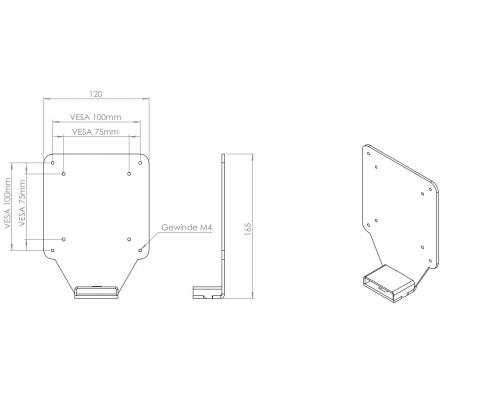 MonLines V063 VESA Adapter für HP 34f Curved Monitor Technische Zeichnung