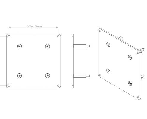 MonLines V066 VESA Adapter für Samsung LC27HG70 Technische Zeichnung