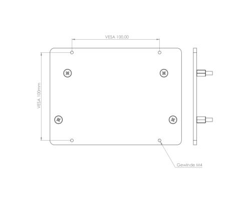 MonLines V069 VESA Adapter für Samsung S32R754 Maße