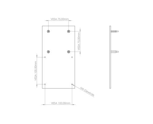 MonLines V070 VESA Adapter für Samsung C32F39 Maße