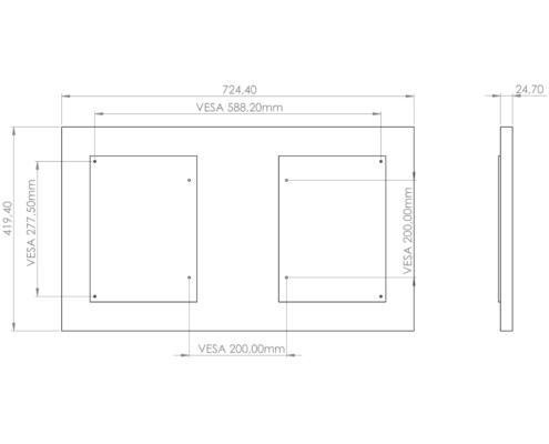 MonLines V071 VESA Adapter für Samsung Frame 32 Zoll QE32LS03T, technische Zeichnung