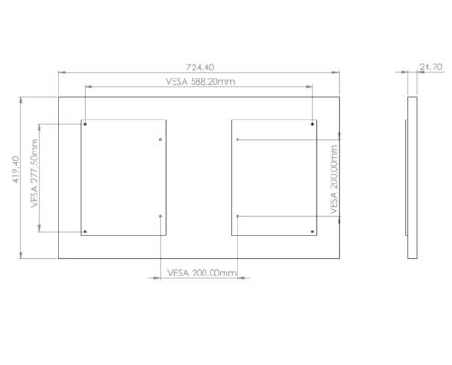MonLines V071 VESA Adapter für Samsung Frame 32 Zoll Maße