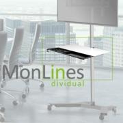 Mobiler TV Monitorstaender mit Ablage & Unterbauschublade